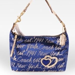 Coach Poppy Lurex Signature Script Shoulder Bag.